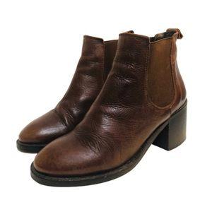 Topshop Cognac Leather Booties Block Heel Sz 7.5